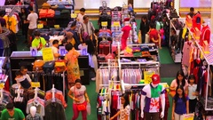 Huge well known shopping complex in Berjaya Time Square. Tourists on shopping. Stock Footage