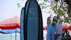 Surf boards for rent. Kuta Beach. The best place for learning how to surf. Stock Footage