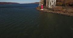 Little Red Lighthouse New York Manhattan approach tilt Stock Footage