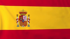 Flag of Spain waving in the wind, seemless loop animation Stock Footage