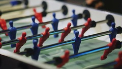Clouseup table soccer, table football. People playing table football Stock Footage