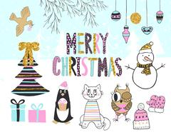 Hand drawn christmas card with cute penguin, cat, owl, snowman, bird, tree Stock Illustration