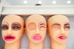 Training dummies permanent make-up, study and skill Stock Photos