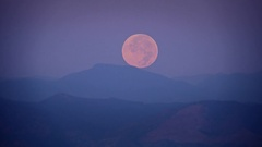 Full Moon Setting Zoom In Stock Footage