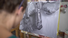 Young painter working Stock Footage