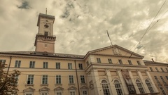 Lviv Tower in the city center. Time lapse of moving clouds. City Lviv, Ukraine. Stock Footage