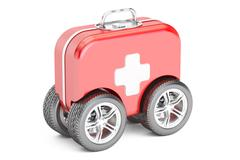 First Aid Kit on Wheels, 3D rendering Stock Illustration