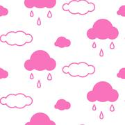 Pink sky clouds seamless vector pattern Stock Illustration