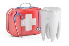 Tooth and First Aid Kit, dental first aid concept, 3D rendering Stock Illustration