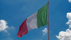 National flag of Italy flying in wind, blue sky background, prosperous country Stock Footage