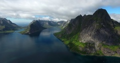 Lofoten mountains and Kirkefjord Stock Footage