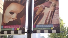 Mountain View Center for the Performing Arts sign street panning people NorCal Stock Footage