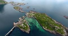 Lofoten islands fishing villages Reine and Hamnoya Stock Footage
