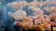 Chicken wings on the grill Stock Footage
