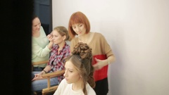Barber makes the cut for woman Stock Footage
