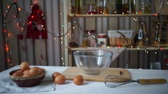 Christmas kitchen. Ingredients and tools for baking at festive kitchen Stock Footage