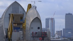 Thames Barrier flood gate system - red signal lights indicate closure Stock Footage