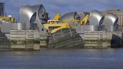 Flood barrier, Thames River London, time lapse tide gates rise, side Stock Footage