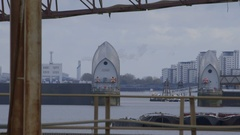 Thames Barrier London during testing of individual flood gates Stock Footage