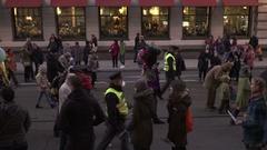 Globes crowd at The Velvet Revolution Carnival in Prague Stock Footage
