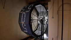 Old style Renaissance clock mechanism - wheel of time moves on Stock Footage