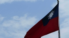 Flag of Taiwan on cloudy blue sky Stock Footage