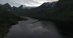 A i Lofoten fishing village mountain lake Agvatnet Stock Footage