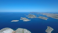 Aerial - Beautiful landscape of Kornati Islands on a sunny day in summer season Stock Footage