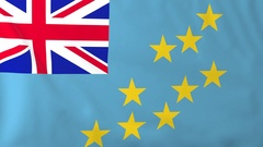 Flag of Tuvalu waving in the wind, seemless loop animation Stock Footage