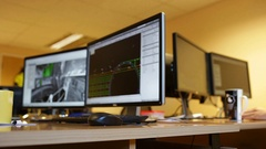 Engineer office screens. Stock Footage