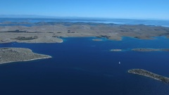 Aerial - Hovering high above the Kornati Islands and panning right Stock Footage