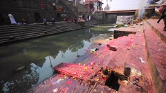 Ritual place for body washing in Bagmati river. Pashupatinath Temple, Kathmandu Stock Footage