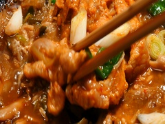 Cooking of bulgogi in fry pan Stock Footage