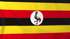 Flag of Uganda waving in the wind, seemless loop animation Stock Footage