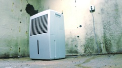 Dehumidifier hero shot in cool damp basement Stock Footage