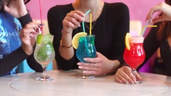 Female friends have a good time in a cafe. Girls drinking delicious cocktails Arkistovideo