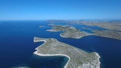Aerial - Panoramic view of Kornati archipelago on a sunny day with clear sky Stock Footage