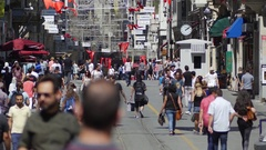 Istiklal Caddesi, city's iconic pedestrian-only street Stock Footage