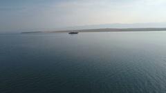 Aerial - Flying toward luxury yacht cruising in Croatian waters Stock Footage