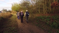 A group of people walking throught the woods. Stock Footage