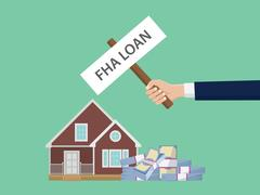 Loan fha illustration with hand holding a poster with house and cash money stack Stock Illustration