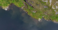 A i Lofoten fishing village mountain lake and sea Stock Footage