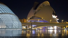 Valencia establishing shot of city of arts and sciences at night Stock Footage