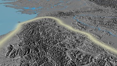 Glide over Brooks mountain range - glowed. Elevation map Stock Footage