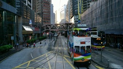 HONG KONG - City centre tram ride. Slow motion point of view shot. Stock Footage