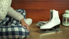 Pick up Ice skates Stock Footage