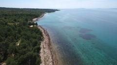 Aerial - Flying above coast of island Vir in Croatia Stock Footage