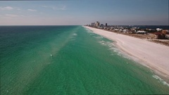 Drone flies over sandy beach barrier island Gulf of Mexico Stock Footage