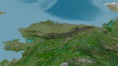 Revolution around Brooks mountain range - masks. Satellite imagery Stock Footage