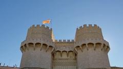 Valencia serranos towers gate tilt Stock Footage